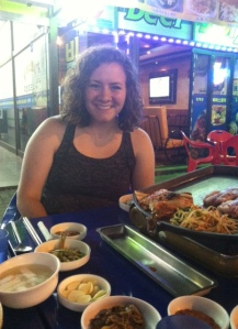 me eating delicious Korean BBQ on the streets of Bucheon
