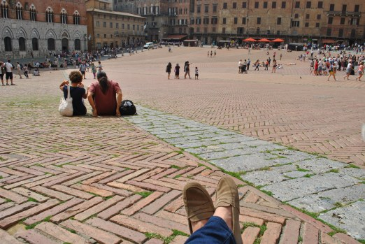 Sitting in Piazza del Campo