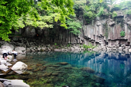 Fantastical pond above Cheonjeyeon Falls