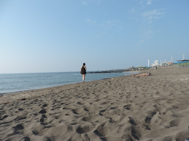 "walk the ""black"" sand beach"