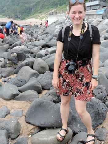 Beginning of a series: Christine jumps around on rocks