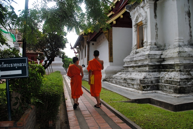 Some young monks near where I got to chat with a monk and discuss Buddhism