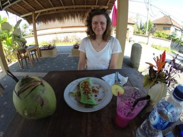 Bali coconut pancakes with a side of coconut